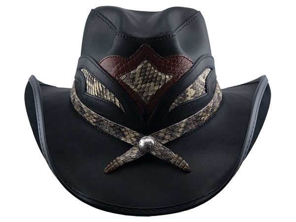 70ca6253074 Western Leather Hat with Rattlesnake - Leather Western Hats - Aztex ...