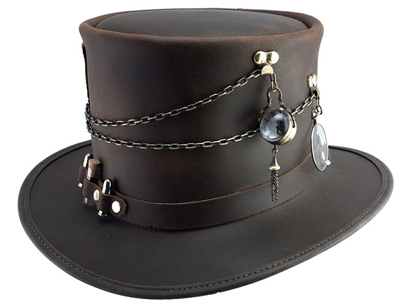 66cfcfe4 Leather Steampunk Top Hat - Steampunk Hats - Aztex Hat Company