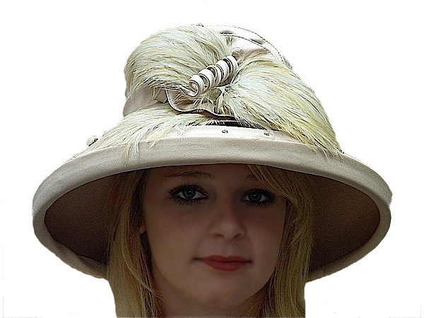 Beige Ladies Winter Church Hat - Big Brim Hats - Aztex Hat Company 4d25d4a4460